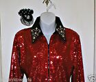 Womens Red Sequin Western Rail, Pleasure, Rodeo, Trail, Queen & Glamour Shirt