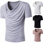 Stylish Men's V Neck Tops Tee Shirt Slim Fit Short Sleeve Casual T-Shirt 4 color