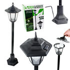 SOLAR POWERED GARDEN LIGHTS LANTERN LAMP BLACK LED PATHWAY WALKWAY OUTDOOR POST