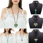 Fashion Women Vintage Leather Alloy Chain Pendant Necklace Statement Chunky Bib
