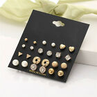 24 Pairs Fashion Rhinestone Crystal Pearl Earrings Set Women Ear Stud Jewelry