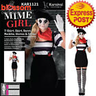 CA230 Womens Mime Costume French Artist Clown Circus Funny Fancy Dress Up Outfit