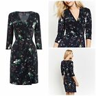 NEW OASIS SHERWOOD TEA DRESS WRAP SHIFT NAVY WHITE GREEN FLORAL BUTTERFLY 8 - 16