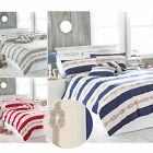 Nautical Theme Coastal Sea Duvet Cover Set With Striped & Rope Print Pattern