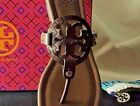 LAST New Tory Burch MILLER SANDALS 5-1/2 5.5 Chocolate Brown Leather Snake Print