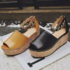 Womens Genuine leather Open Toe Suede Ankle Strappy Wedge Heels Elegant Shoes #Y