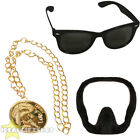 ALI G MENS ACCESSORY SET GOATEE BEARD, MEN'S SUNGLASSES AND GOLD MEDALLION CHAIN