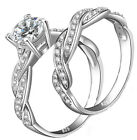 2.30 ct 2 pc Real 925 Sterling Silver Women's Wedding Engagement Ring Sz 4-11,5