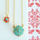 Turquoise Coral Rhinestone Gold Layered Necklace with Swarovski Elements