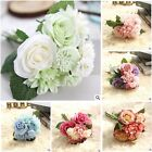 10 Head Artificial Fake Silk Rose Wedding Bridal Flower Bouquet Decor Vintage