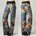 New Women Casual Patchwork Flower Lace Up Elastic Waist Wide Leg Pants N98B