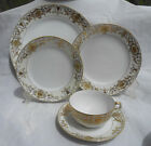 NORITAKE 175 GOLD BALL ORNAMENT LOT 7 PC DINNER CUP SAUCER SALAD BREAD 16034