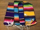 "6' Long Mexican Rainbow Striped Saltillo Serape Scarf Wrap Runner Fiesta 75""x7"""