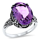 GENUINE 5 CARAT AMETHYST ANTIQUE STYLE 925 STERLING SILVER FILIGREE RING,   #929
