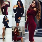 Women Fashion Sexy Off Shoulder Long Sleeve Solid Bodycon Pencil Sweater N98B
