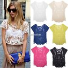 Hot Semi Sheer Women Sleeve Embroidery Floral Lace Crochet T-Shirt Tops N01