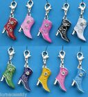 1 Clip on Charm 3D Enamel Cowboy Girl  Boot Line Dancing Birthday choose colour
