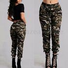 UK 8-20 Womens High Waisted Military Camouflage Long Pants Trousers Plus Size
