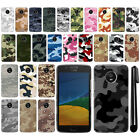 "For Motorola Moto G5 5"" Camo Design HARD Back Case Phone Cover + Pen"