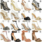 Womens High Clear Heels Ankle Strappy Open Toe Ladies Sandals Sale Shoes Size
