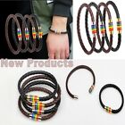 1pc Leather Wrap Wristband Cuff Punk Magnetic Rainbow Buckle Bracelet Fashion