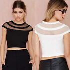 Womens Summer Short Sleeve Vest Blouses Casual Crop Top Slim Tank T-Shirt Tops