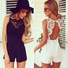 Fashion Womens  Sexy Lace Jumpsuit Split Ladies Sleeveless Short Jumpsuits