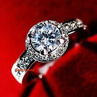 18k White Gold Plated Crystal Silver Lady's Wedding Engagement Ring R143