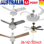 New 52inch White Silver Modern Ceiling Fan with Light and Remote Control AU SHIP