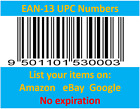 Amazon Ebay itunes Barcodes EAN UPC Code Numbers 10-10000 Lifetime Lowest Price