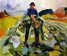 MAN IN A CABBAGE FIELD AGRICULTURAL WORKER 1916 PAINTING BY EDVARD MUNCH REPRO