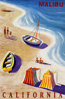 MALIBU CALIFORNIA BEACH FUN SAILBOAT WAVES SUMMER TRAVEL VINTAGE POSTER REPRO