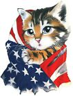 American Flag & Cat Shirt, Patriotic, 4th of July, Shirt, Small - 5X