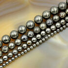 Natural Pyrite Gemstone Round Loose Beads 16'' 4mm 6mm 8mm 10mm
