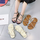 US BOHO Women Summer Beach Pearl Flat Sandals Ankle-Strap Casual Shoes Flip Flop
