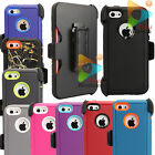 For Apple iPhone 5C Rugged Case + Holster Clip (Clip Fits Otterbox Defender)