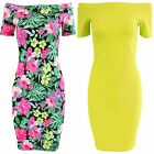 LADIES RIB OFF SHOULDER FLORAL BODYCON DRESS WOMENS BARDOT TOP NEON LOOK STRETCH