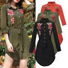 Embroidery Floral Print Women Casual Mini Shirt Dress Ladies Blouse Tops Shirt T
