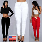 Fashion Women Sports Long Pants Pocket Sweatpants Slim Fit Casual Trousers