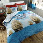 Dream of the Seas Nautical Duvet Cover with Ships Print - Reversible Bedding Set