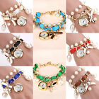 Hot Sale Women Analog Pearl Key Lock Dial Wrist Quartz Watch Bracelet Jewelry