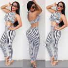 2Pcs Women Striped Sleeveless Tops and Long Pants Clubwear Jumpsuit Playsuits