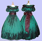 Ladies Victorian  or American Civil War 3pc costume fancy dress size 22-32 green
