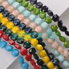 5pcs 14mm Hexagon Faceted Glass Opaque Color Loose Spacer Beads DIY Findings