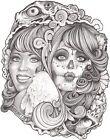 Two Ways by Mouse Lopez Tattooed Death Skull Mask Woman Giclee Art Print