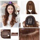 Long Wavy Synthetic Middle Part Clip in Hair Topper Mono Hairpiece with Air Bang
