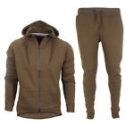 MENS FULL KHAKI TRACKSUIT TOP BOTTOM HOODED SPORTS JOGGERS GYM SIZE UK S M L XL
