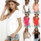 US Summer Women's V Neck Lace Up T-Shirt Short Sleeve Loose Tops Casual Blouse