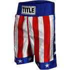 """Title Boxing American Flag 4"""" Waistband Satin Boxing Trunks - USA"""