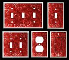 RED HEARTS AND BUBBLES LIGHT SWITCH COVER PLATE